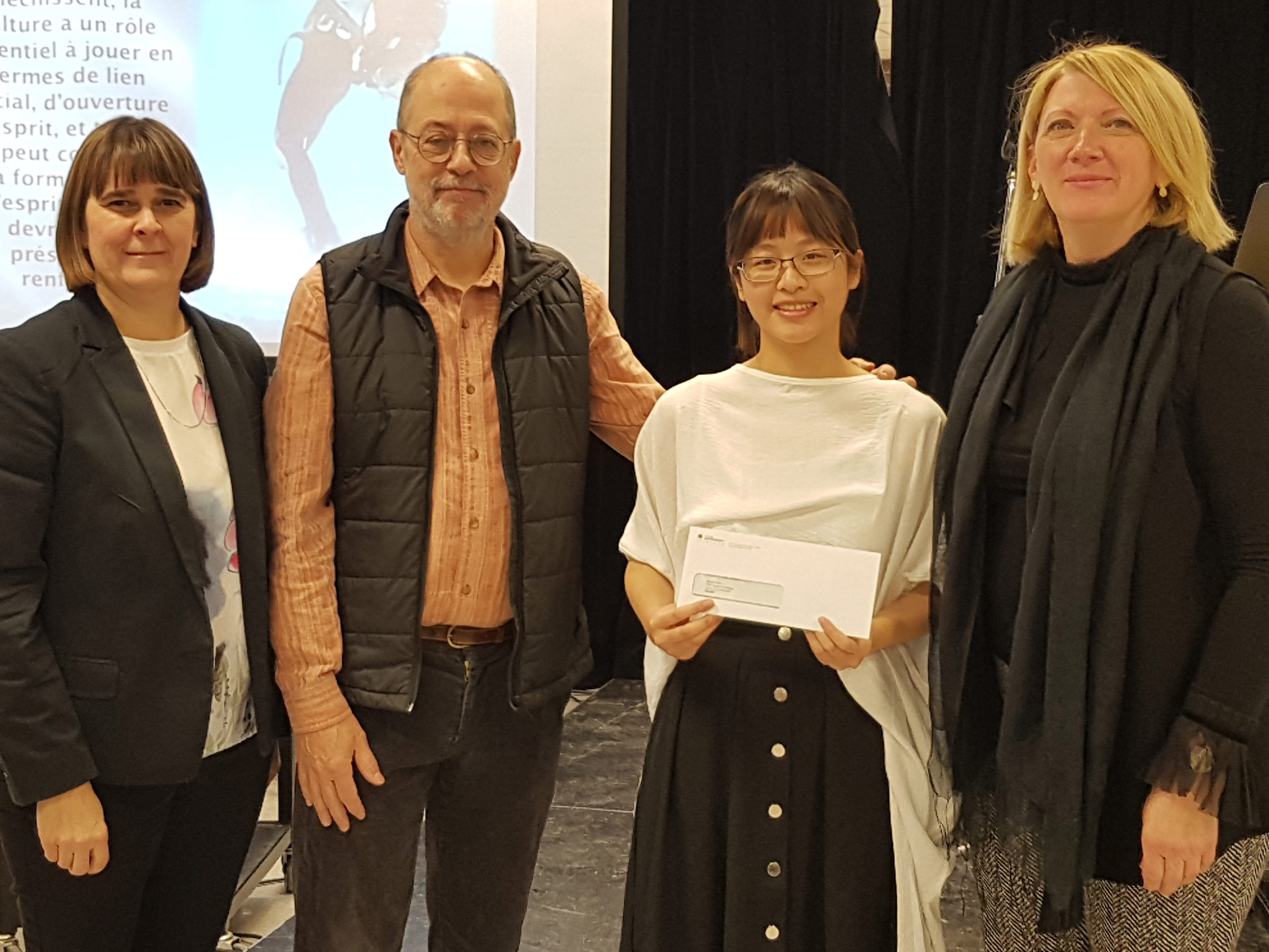Winnie Chen est la récipiendaire de la première bourse d'études Michel Paradis pour la muséologie internationale. Professeur retraité, M. Paradis a mis sur pied cette bourse pour encourager les stages de fin d'études hors Canada.